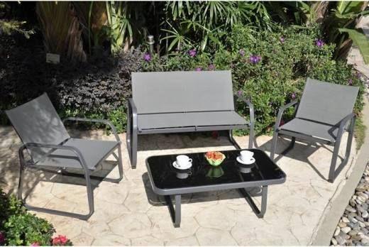 Palmeri Salon de jardin 1 canapé, 2 fauteuils et table basse ...