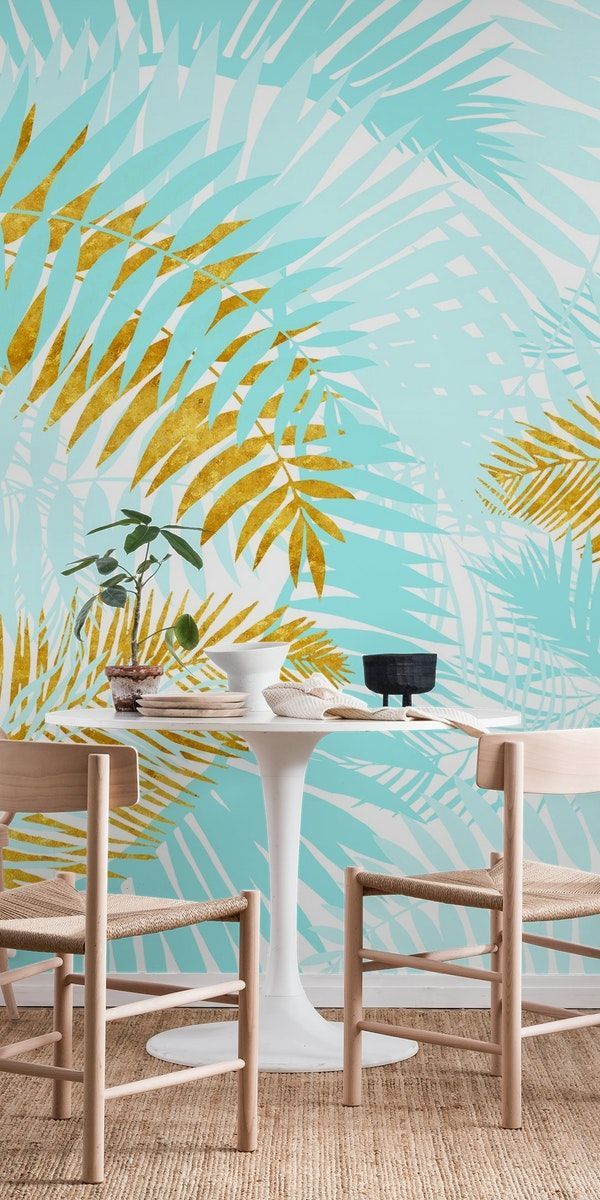 Teal and Gold Palm Leaves Wall mural images