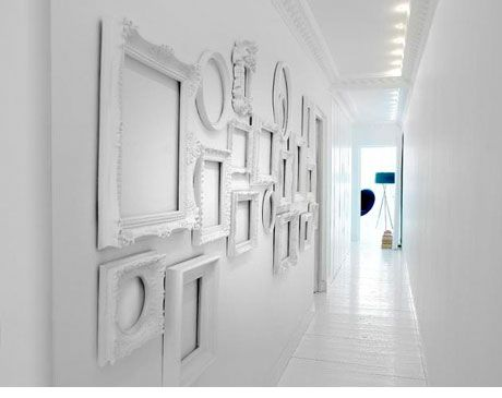 Decorate with frames just frames no art wall decorations walls wall decor do you have some mismatched frames that you dont know what to do with teraionfo