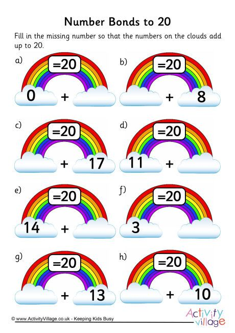 Rainbow number bonds worksheet to 20 … | Autism in 2018…