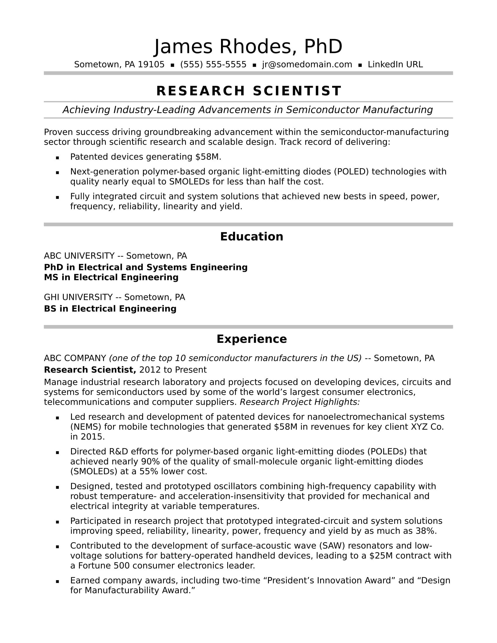 cv template research scientist
