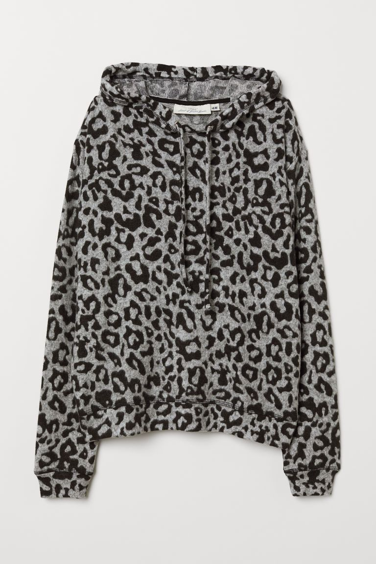 8d93a0be Fine-knit Hooded Top - Light gray/leopard print - Ladies | H&M US 5