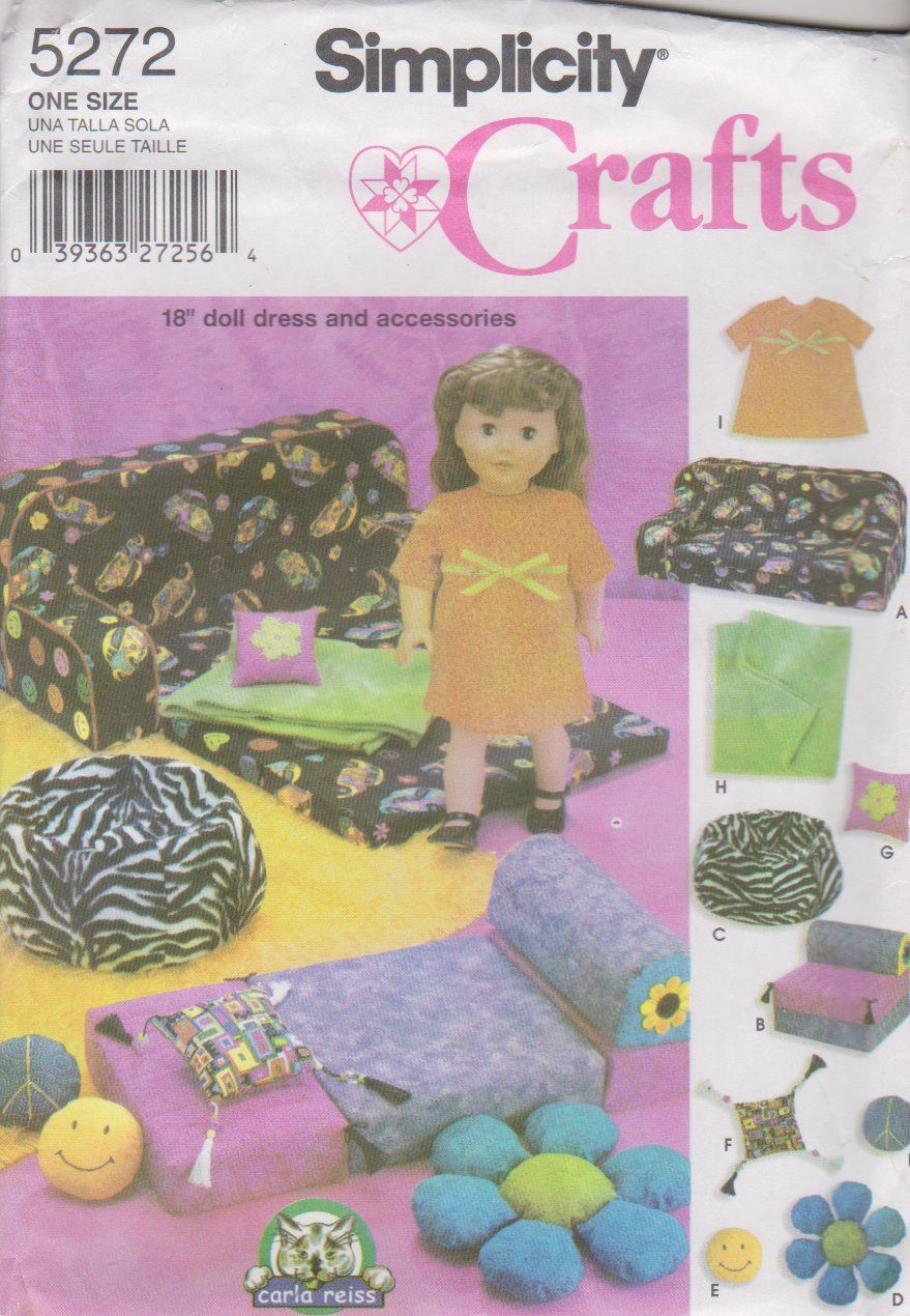 Simplicity Sewing Pattern 5272 18 Doll Accessories Couch Bed Bean Bag Chair Dress