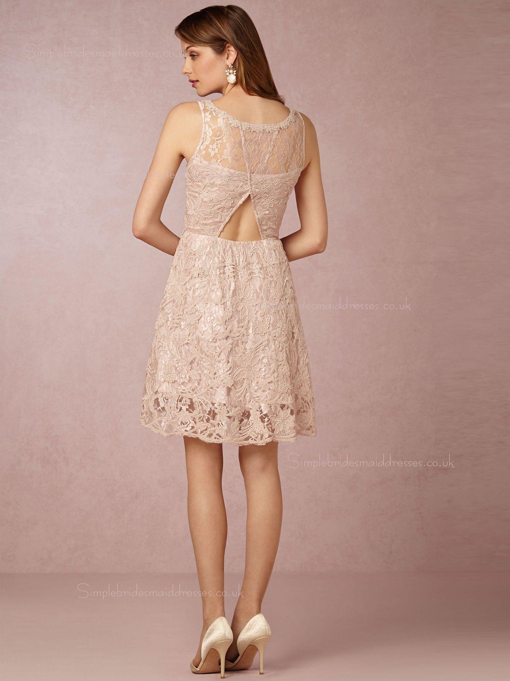 Shop Fairytale A-line Lace Mini Pearl Pink Sleeveless Bridesmaid ...
