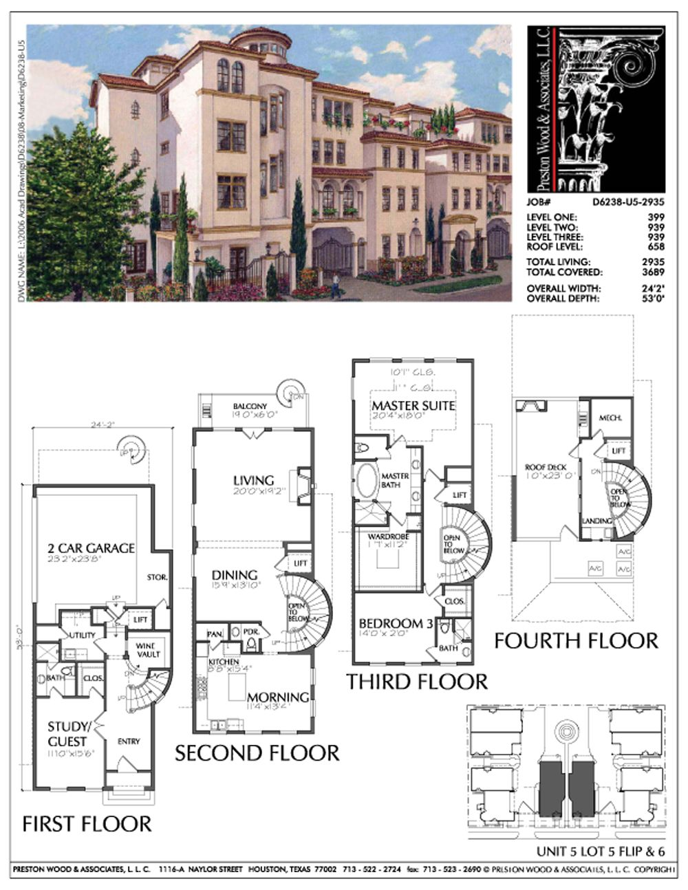 Townhome Plan D6238 U5 Townhouse Town House Floor Plan