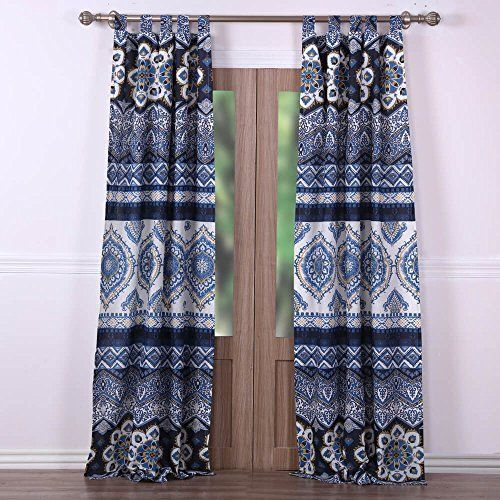 Boho Chic Moroccan Paisley Pattern Navy Blue Window