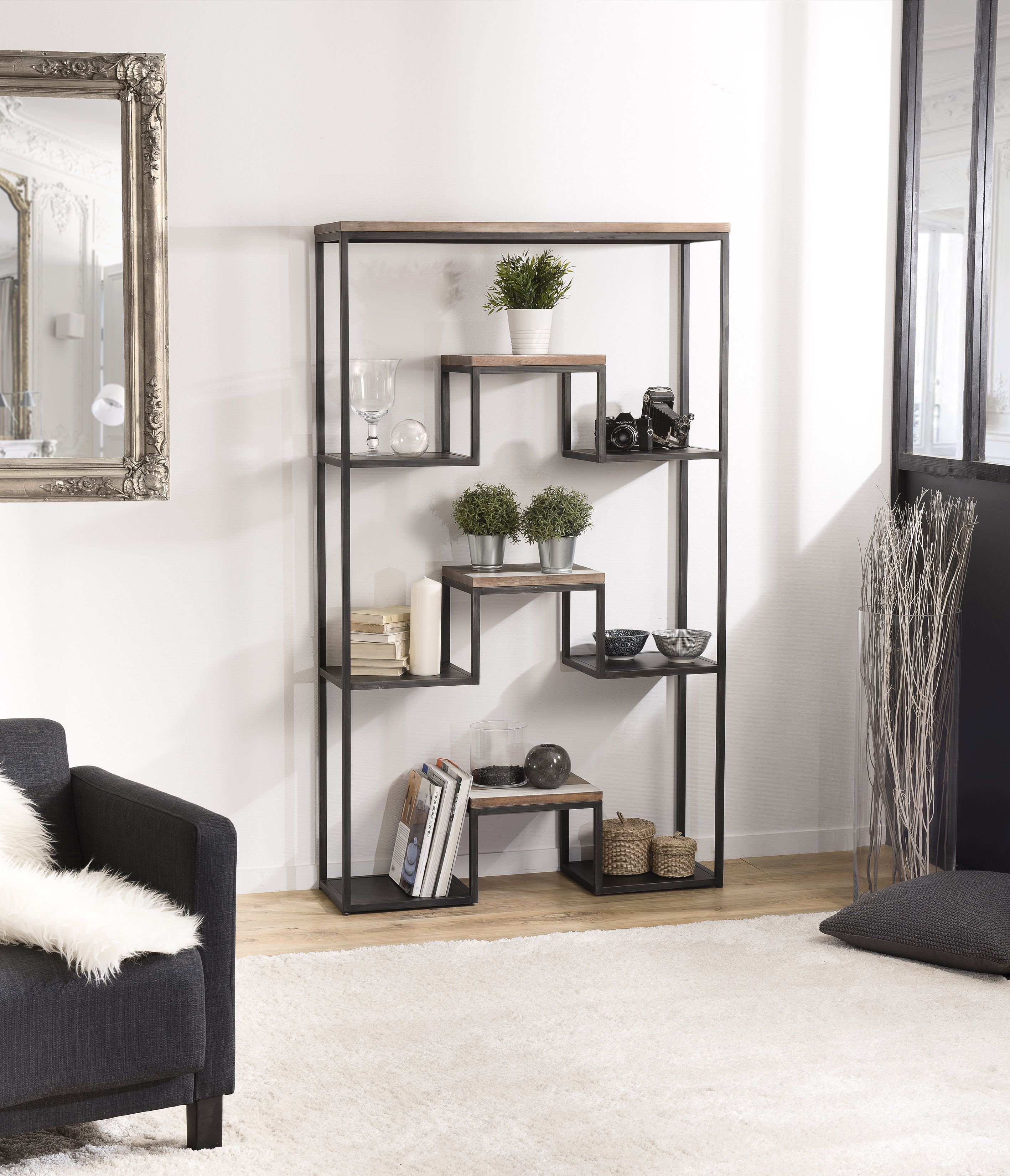 Etagere Destructuree 3 Niveaux En Acacia Degrade En Couleurs Et Metal 100x30x170cm Mathys Decoration Maison Etagere Bois Etagere