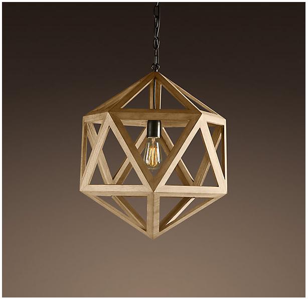 Wood Polyhedron Pendant Restoration Hardware 325