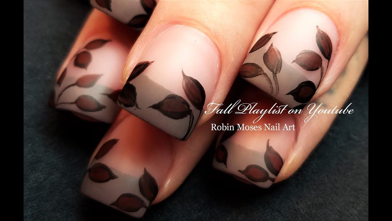 Dark Red Winter Leaves Elegant Taupe French Tip Nail Art Youtube