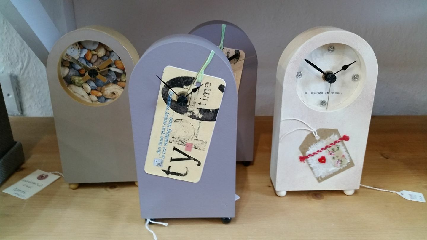 Clocks designed by Ruth Clayton of wickerfish studios here at the mill.