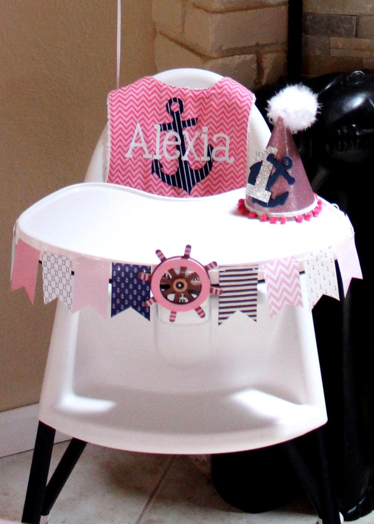Nautical birthday high chair