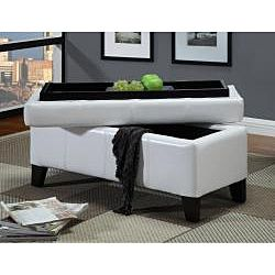 White Synthetic Leather Storage Bench with Wood Serving Tray - Overstock Shopping - Great Deals on Domusindo Benches