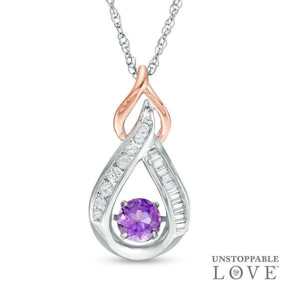 Zales Unstoppable Love 6.5mm Lab-Created White Sapphire Frame Pendant in Sterling Silver with 14K Rose Gold Plate FzBqetJ