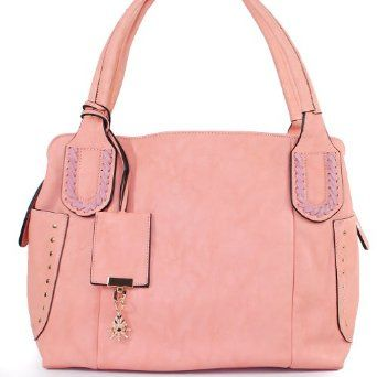 Amazon.com: Designer Inspired Unique Woven Handle Tote Satchel Handbag Purse with Unique Helm Shape Drop in Light Pink: Clothing $46.99