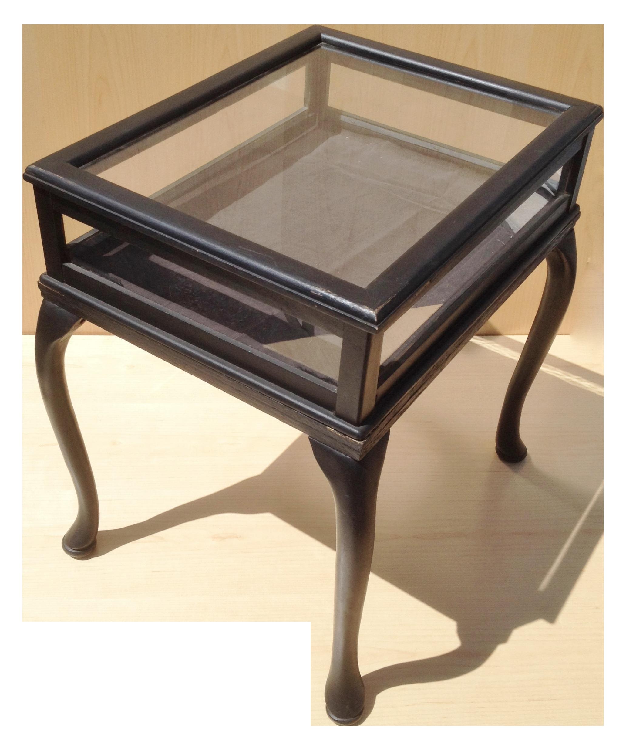 Vintage Glass Top Vitrine Display Table Table Side Table Glass Top