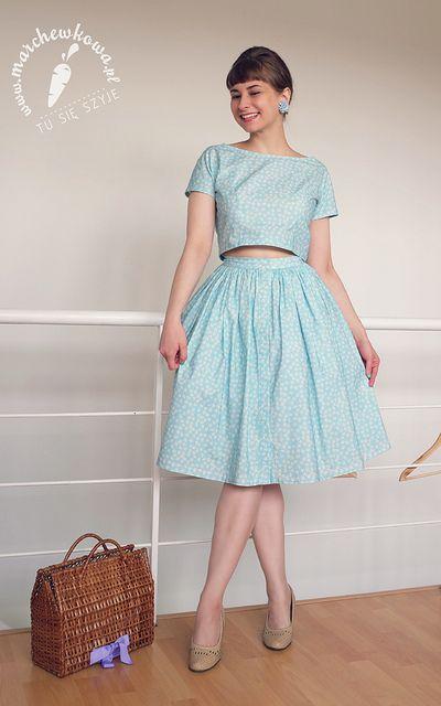 Komplet Spodnica Bluzka Retro Rekodzielo Fashion Skirt Pattern Vintage Fashion