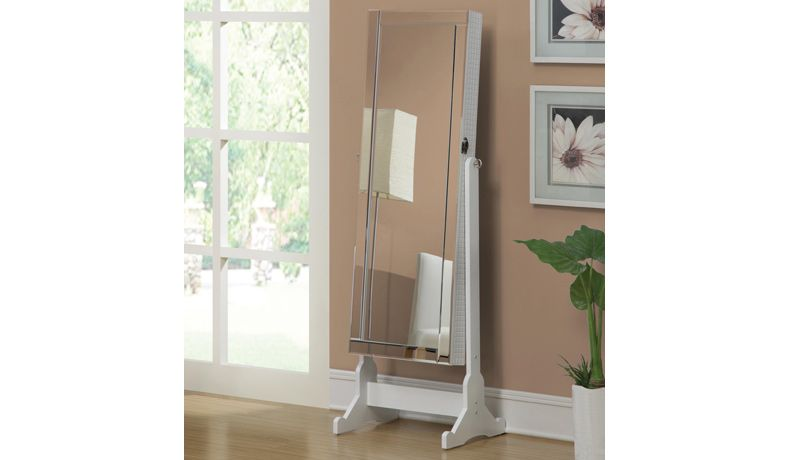 Coaster Jewelry Armoire with Cheval Mirror White WISH LIST
