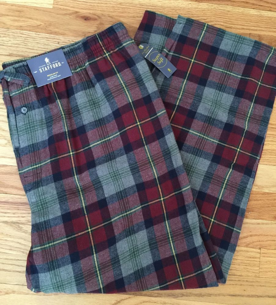 Red flannel pajama pants  Menus STAFFORD XXL FLANNEL RedNavyGray PLAID PAJAMA SLEEP PANTS