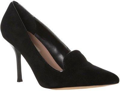 Dune Baby Boi Suede Point Toe Stiletto Heel Court Shoes, Black
