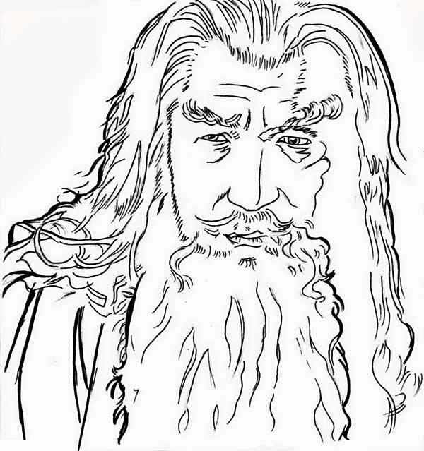 sketch of gandalf in the lord of the rings coloring page coloring
