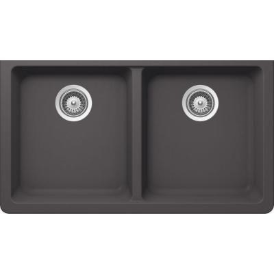 Buy Here: http://thd.co/1K2H8Fg SCHOCK ALIVE ALIN200YU041 Undermount Composite 33 in. 0-Hole 50/50 Double Bowl Kitchen Sink in Basalt #kitchensink #kitchensinks #kitchen #sinks #schock #granitesink