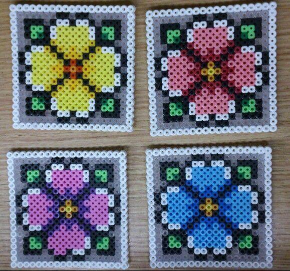 Perler Bead Coaster Flower Perler Bead Designs Pinterest Enchanting Perler Bead Flower Patterns