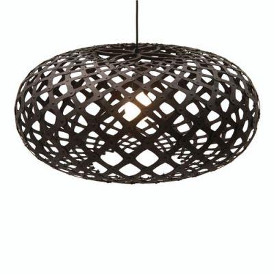 Brilliant Black Wood Basket Wood Designer Pendant Lighting For Restaurant