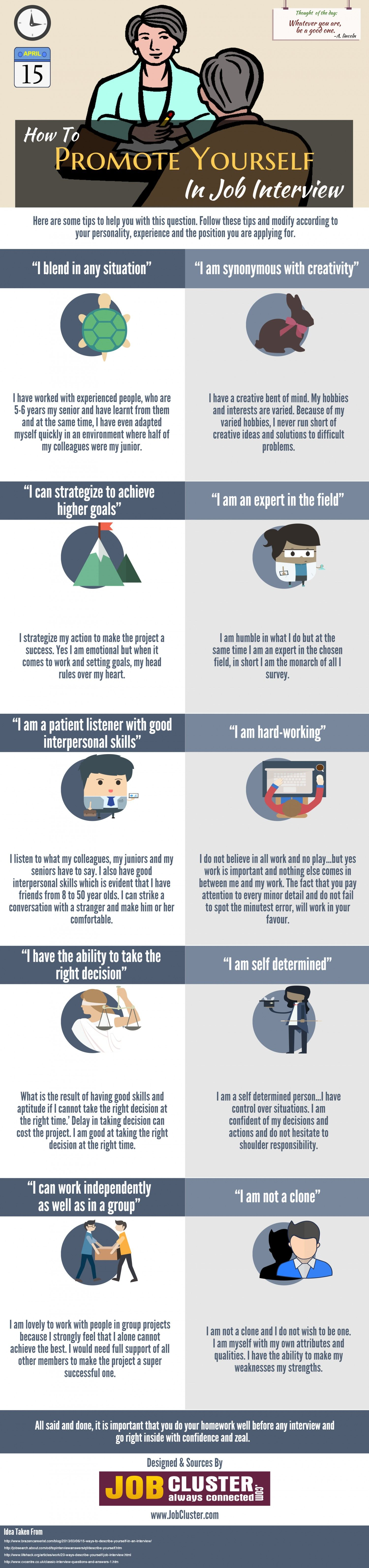 Beautiful How To Promote Yourself In Job Interview #Infographic