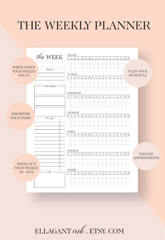 Weekly Planner Inserts Weekly Schedule Weekly Planner Pages A
