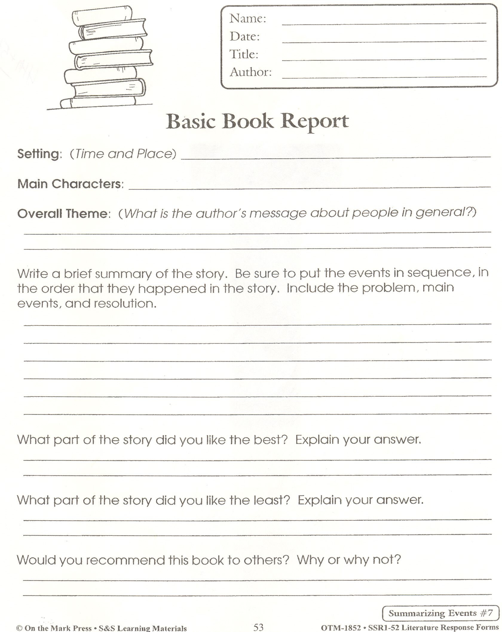 5th Grade Book Report