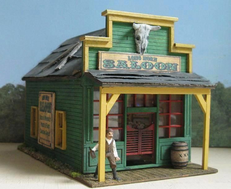 Old west diorama saloon trains layout building for Salon western