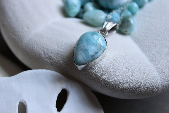 Tear Drop Larimar Pendant Necklace by Amorco on Etsy, $35.00