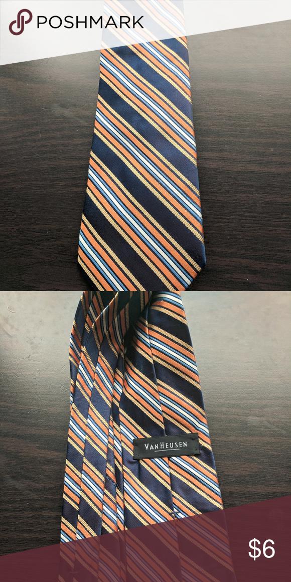 1f7ecac0085f Van Heusen Navy & Orange Striped Tie Navy and Orange Striped tie with light  blue, yellow, and white accent stripes. Van Heusen Accessories Ties