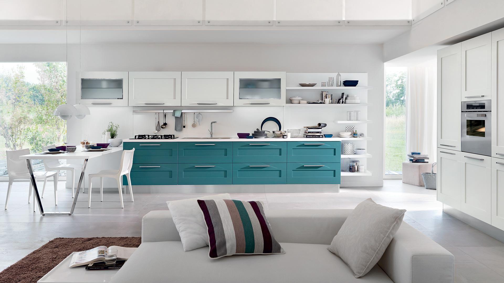 Cocina blanca y verde agua. | Casas color verde, Cocinas modernas, Diseño  de cocina moderna