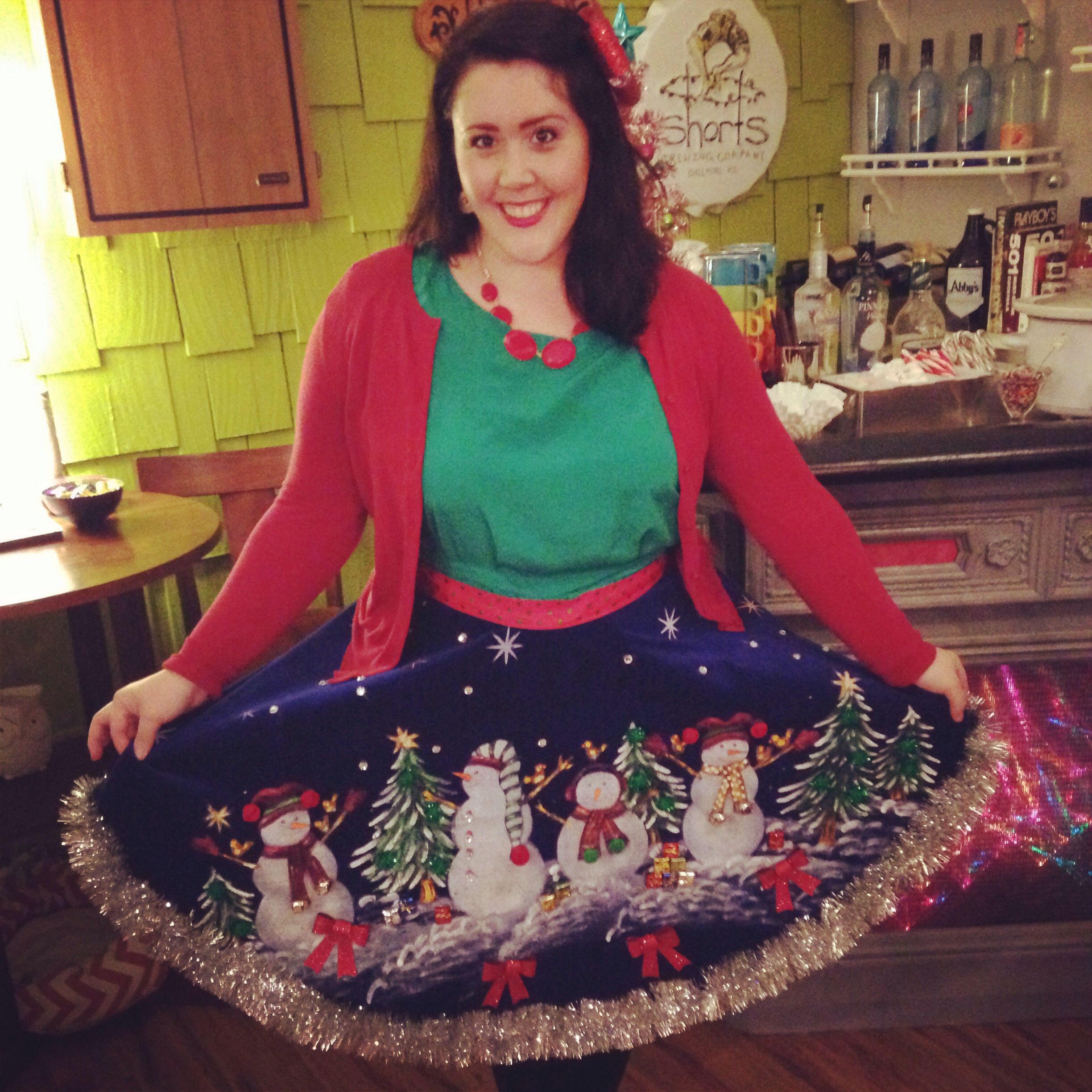 Tree Skirt Instead Of Tacky Christmas Sweater Diy Christmas Sweater Tacky Christmas Party Tacky Christmas Sweater