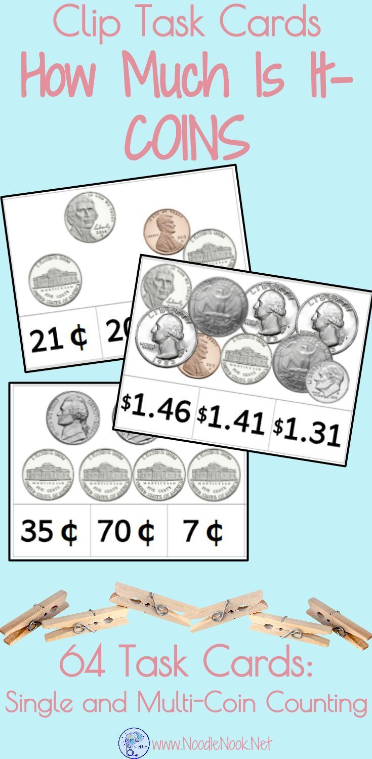 Money Clip Cards- COINS. Task Cards for Money Math Centers or Work ...
