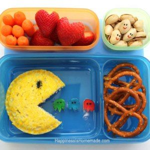 http://www.happinessishomemade.net/2013/08/26/pac-man-bento-style-lunch-rubbermaid-lunchblox/