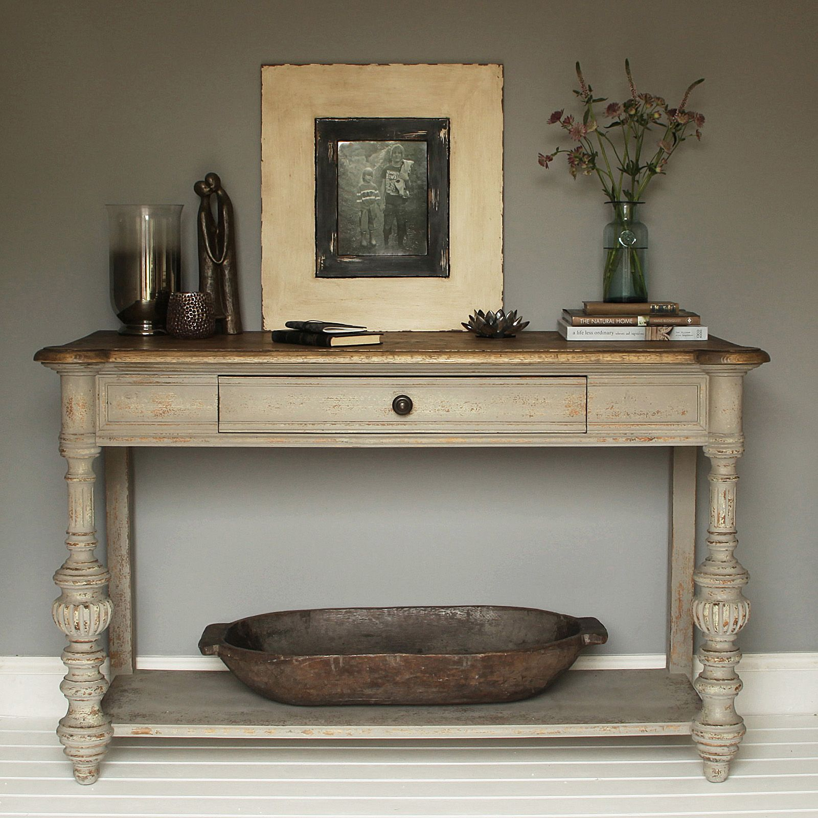 French style solid oak console table with a distressed grey paint finish with drawer and shelf below with rustic oak wooden top