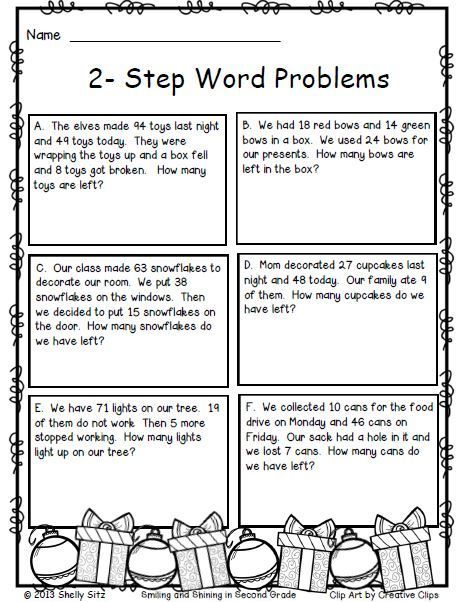 christmas math 2 step word problems math for 2nd grade math 4th grade math math words. Black Bedroom Furniture Sets. Home Design Ideas