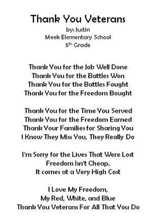 thank you poems thank you letter veterans day activities holiday activities school