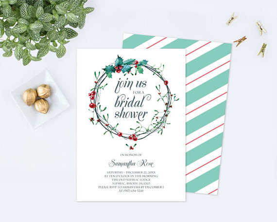 Christmas BRIDAL SHOWER Invitation Template PDF Winter Bridal - bridal shower invitation templates