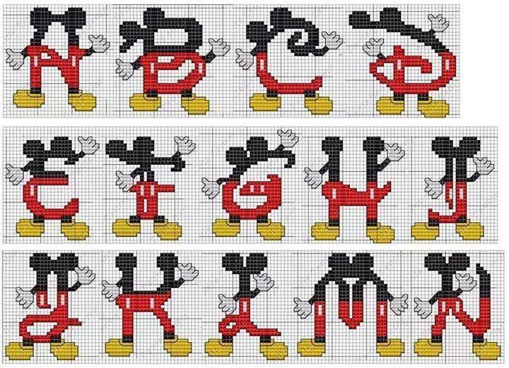 Monograma Mickey Ponto Cruz Numeros Em Ponto Cruz Alfabeto