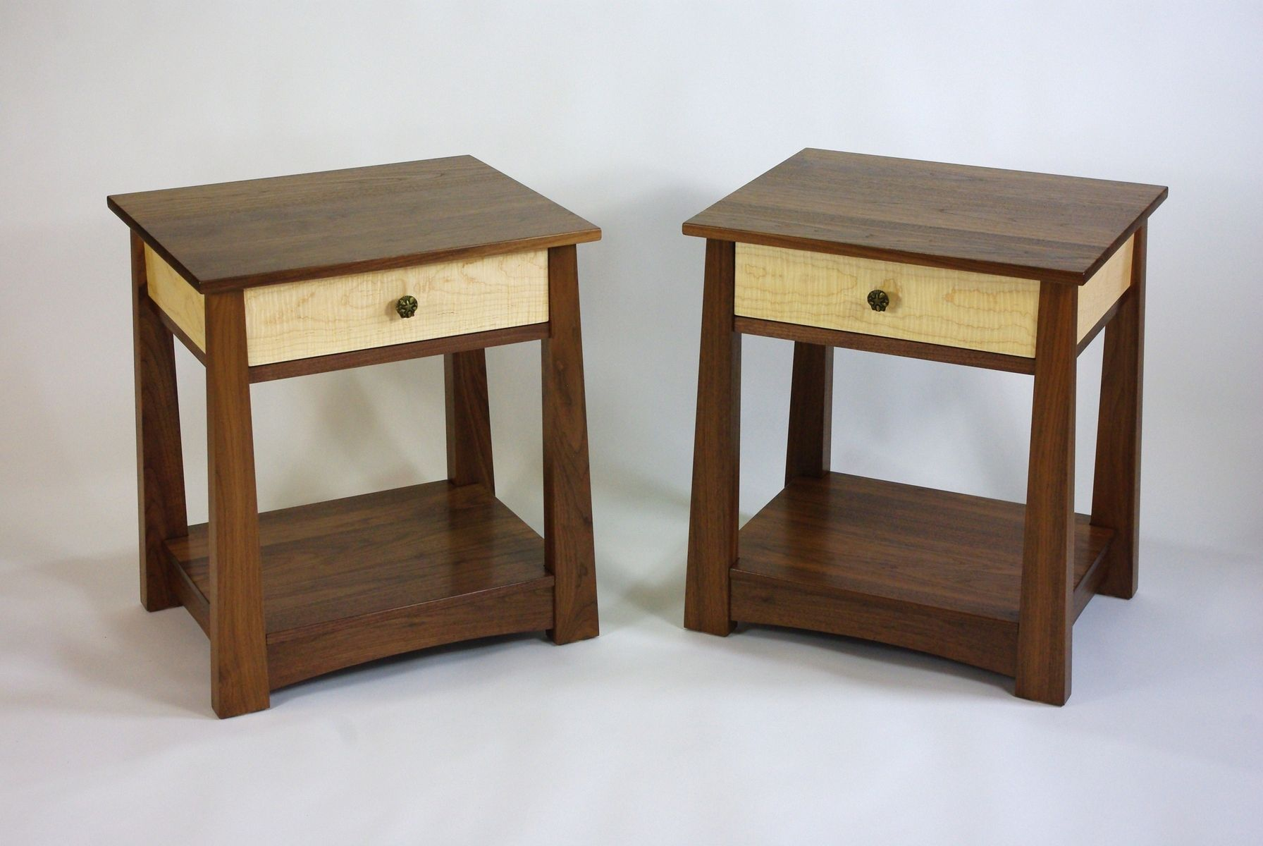 Black Walnut And Curly Maple Dresser And Nightstands