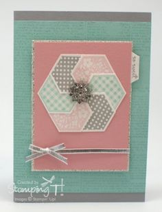 handcrafted greeting card ... gray, aqua and coral pink ... silver ribbon ... luv how stamped and punched hexagons are layered and grouped to form a large hexagon ... pretty card ... Stampin' Up!