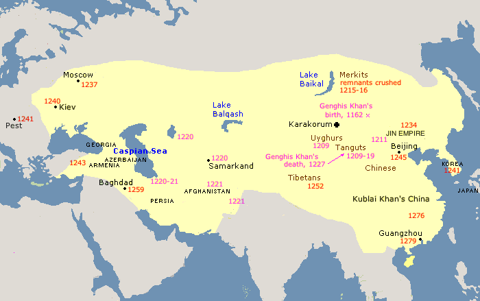 Genghis Khan Empire Map Mongol Empire to 1280   Website about Genghis Khan and the Great  Genghis Khan Empire Map