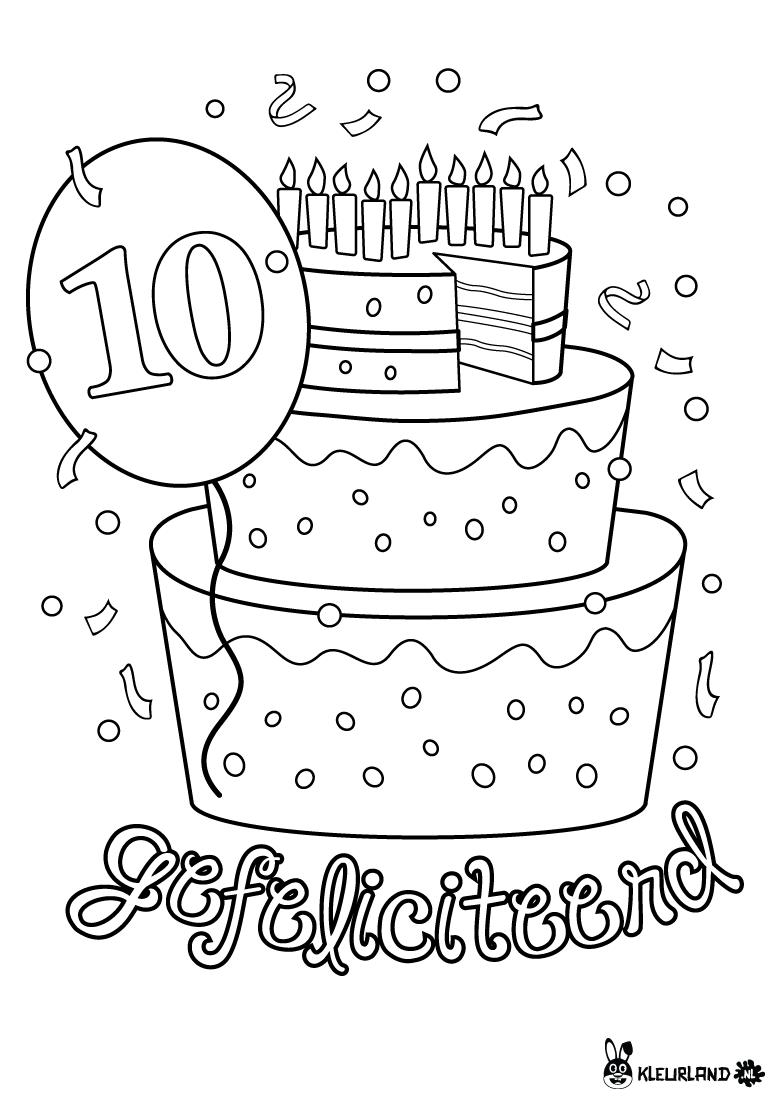 verjaardagstaart 10 jaar kleurland nl kleurplaten