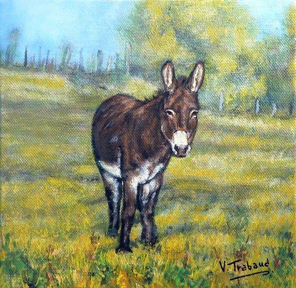 Peinture Paysage Campagne Peinture Ane Paysage Champs Toile Acrylique Realiste Artiste Peinture Peinture D Animal Comment Peindre