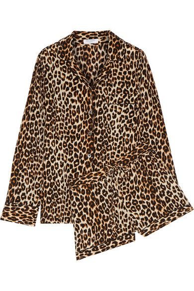 Liliane leopard-print washed-silk pajama set