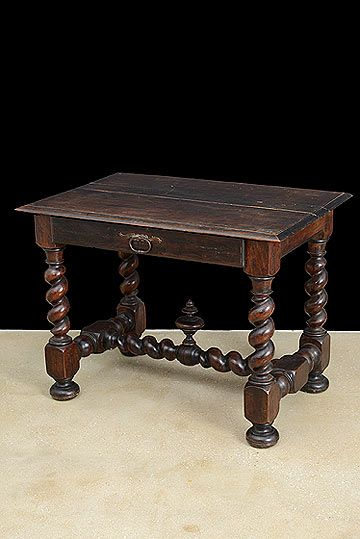Superior Spanish Antique Louis XIII Style Turned Leg Table