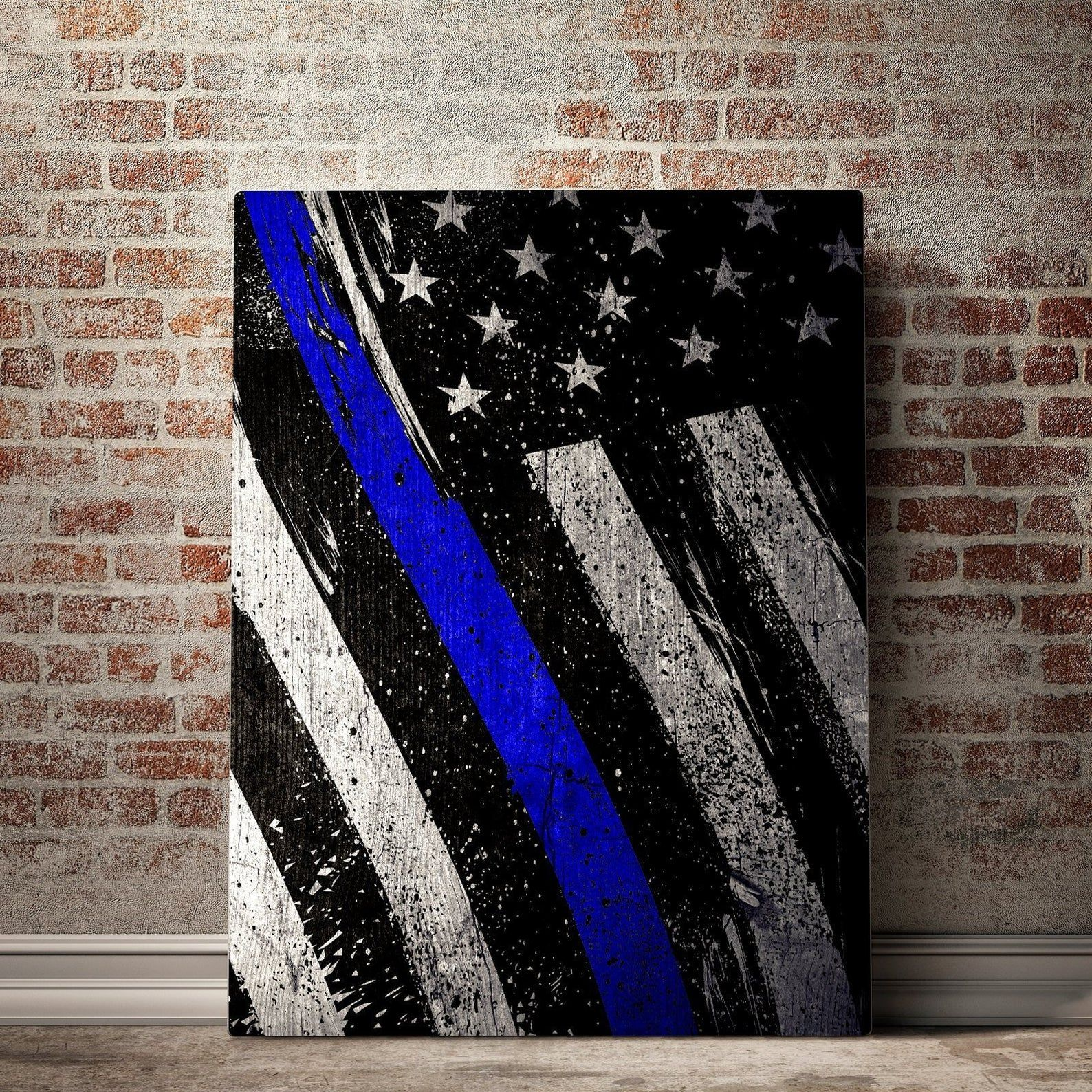 Embroidered Thin Blue Line Flag Warrior 12